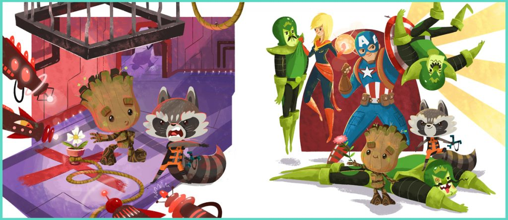 Night Night Groot Book Illustrations